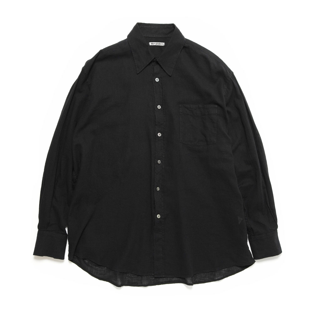 LESS BORROWED SHIRT BLACK SHEER COTTON LINEN