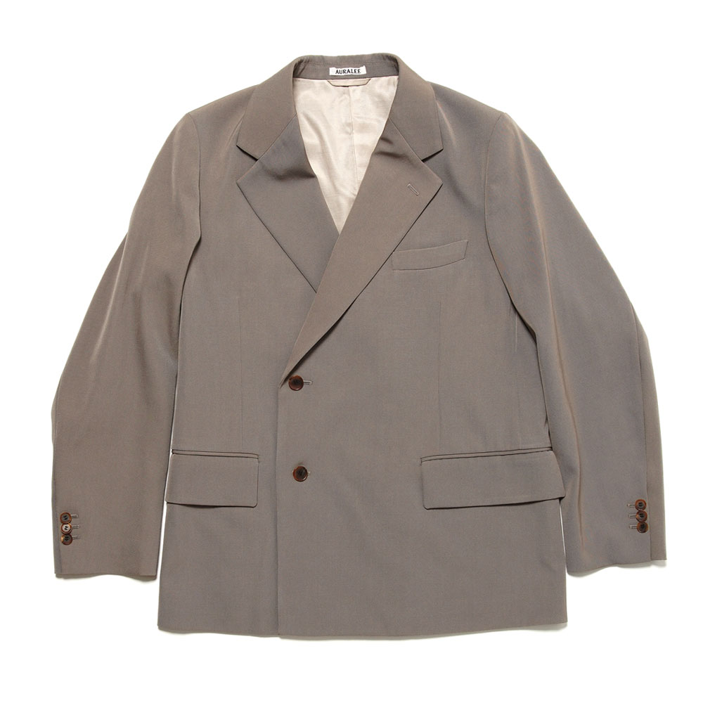 WOOL MAX GABARDINE DOUBLE-BREASTED JACKET GRAY BEIGE