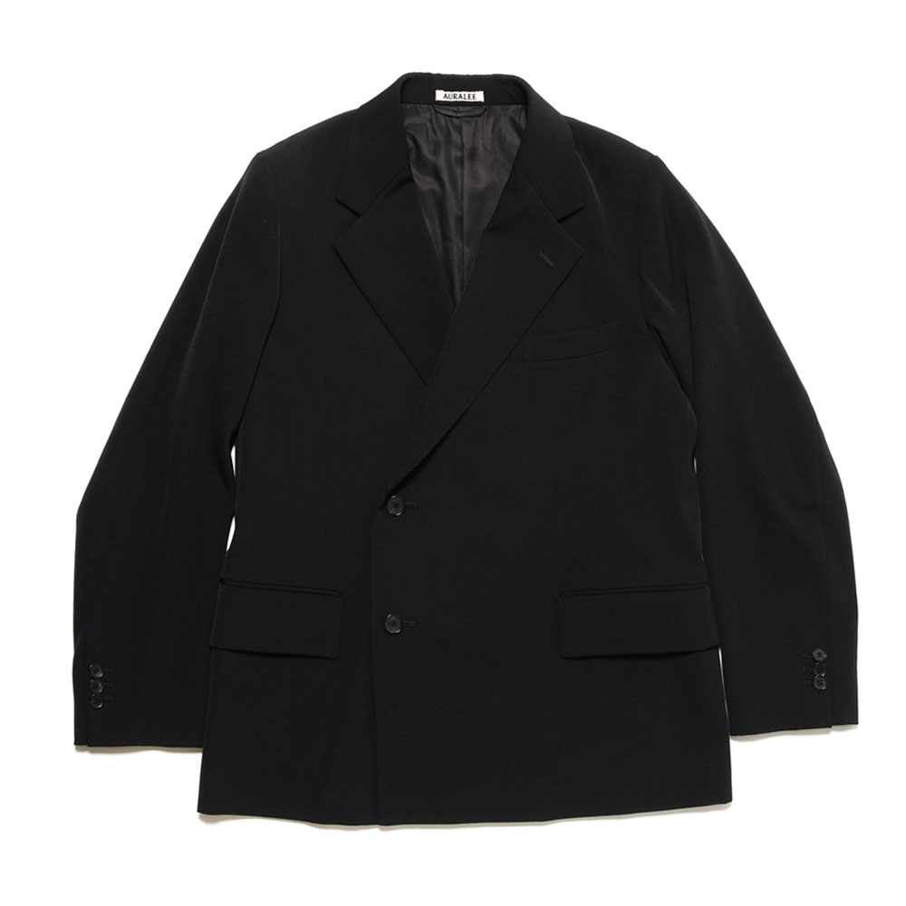 WOOL MAX GABARDINE DOUBLE-BREASTED JACKET BLACK