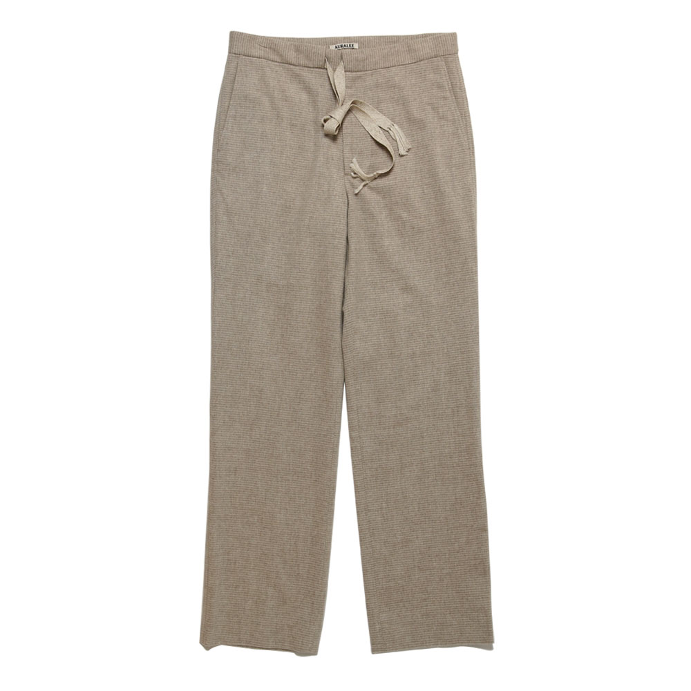 CASHMERE WOOL FLANNEL BORDER SLACKS BEIGE