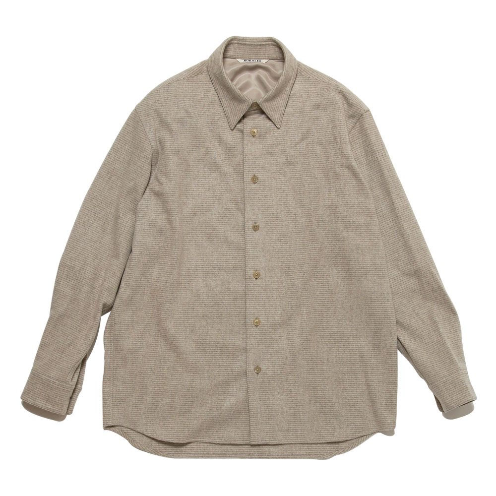 CASHMERE WOOL FLANNEL BORDER SHIRTS BEIGE
