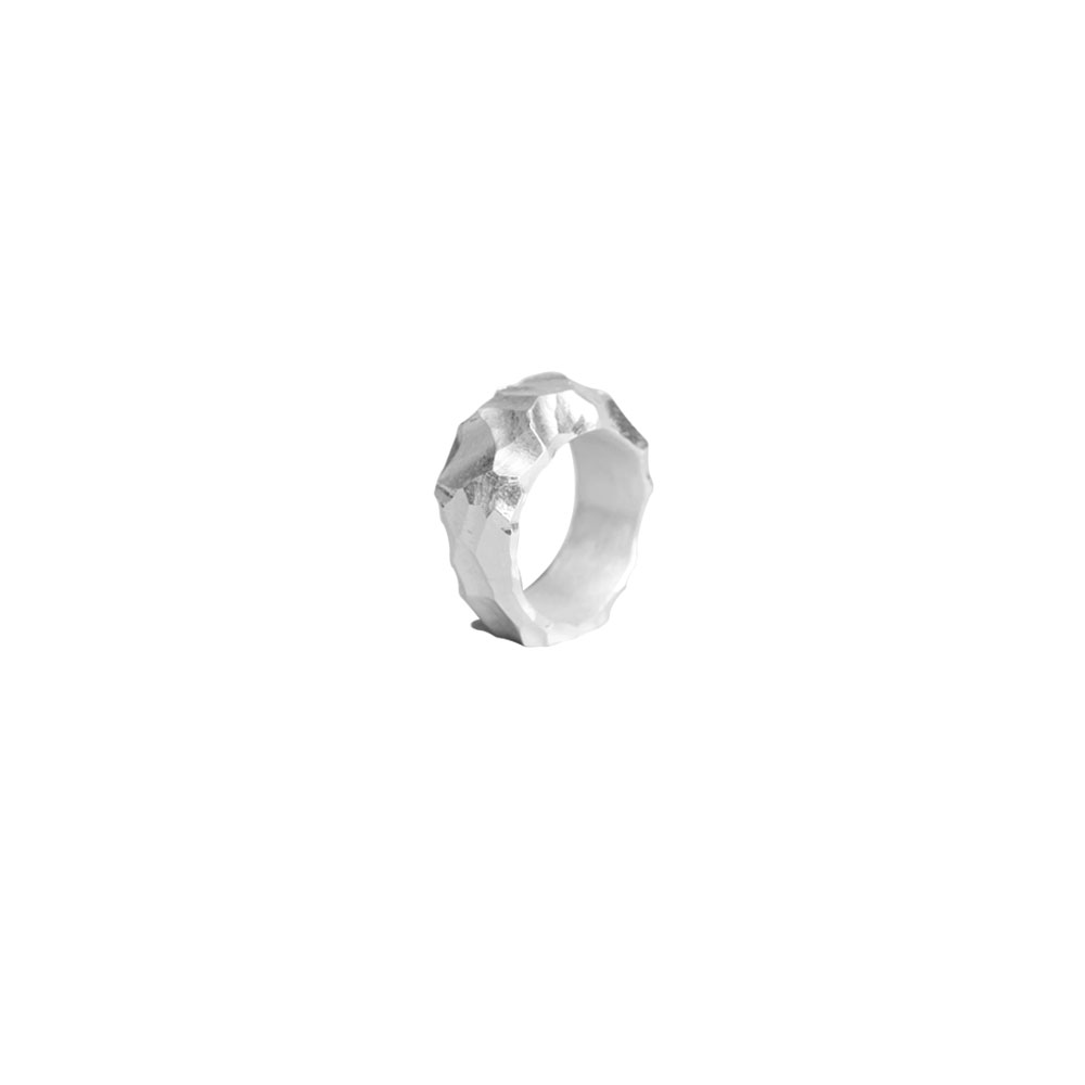 RAUK NARROW RING 101483 CARVED SILVER