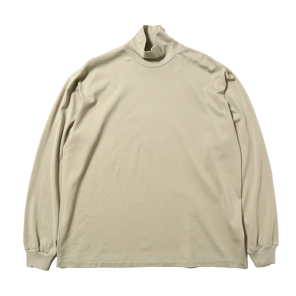 LUSTER PLAITING HIGH NECK L/S TEE LIGHT GREEN