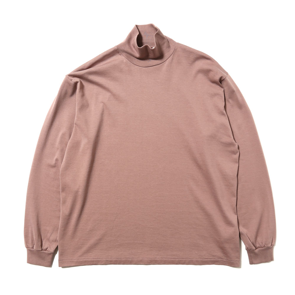 LUSTER PLAITING HIGH NECK L/S TEE LIGHT BROWN