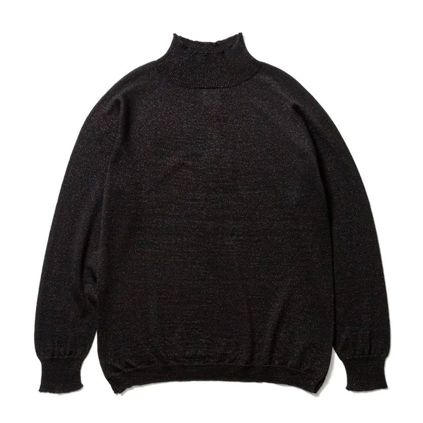 HIGH GAUGE RAME MOCKNECK KNIT SHINE BLACK
