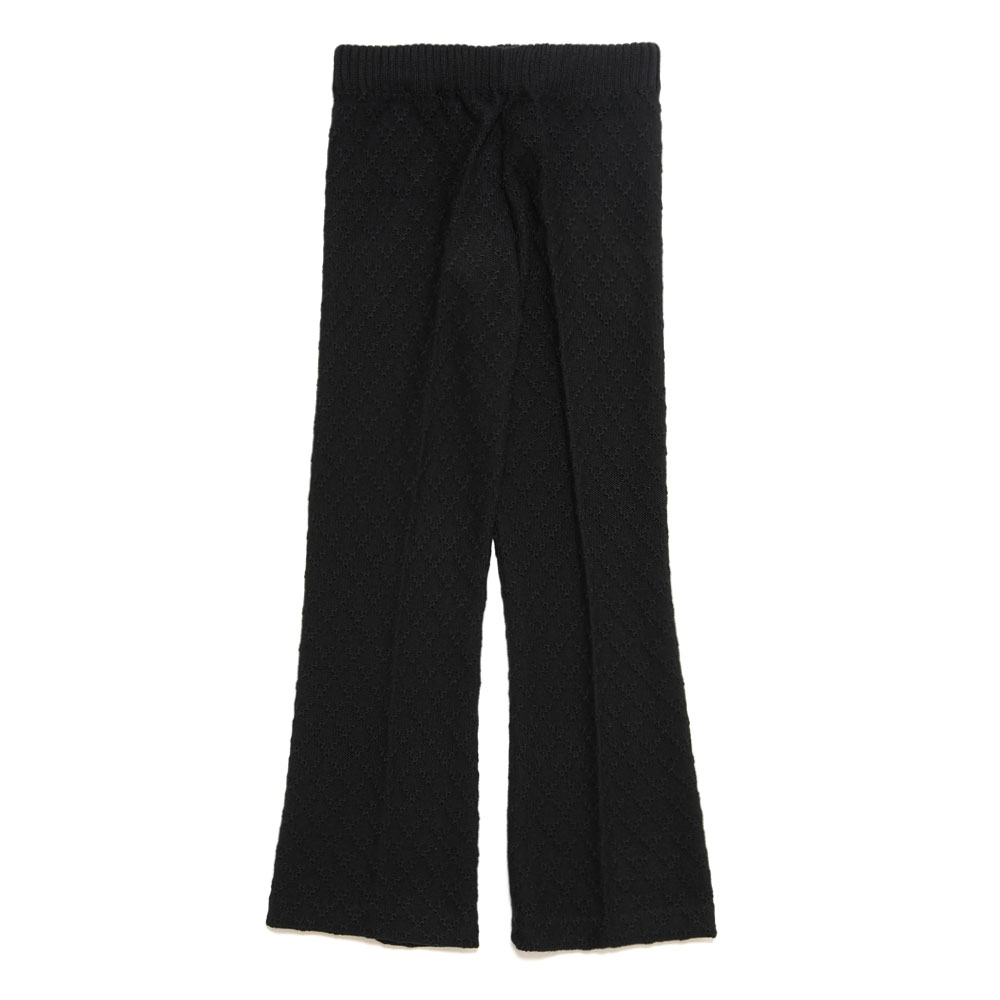 LOUNGE FLARE KNIT TROUSERS BLACK