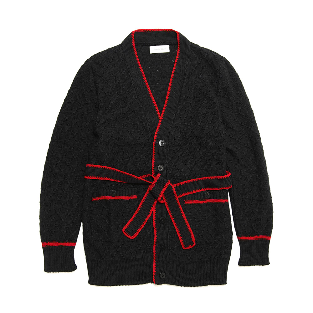 SMOKING CARDIGAN BLACK/RED