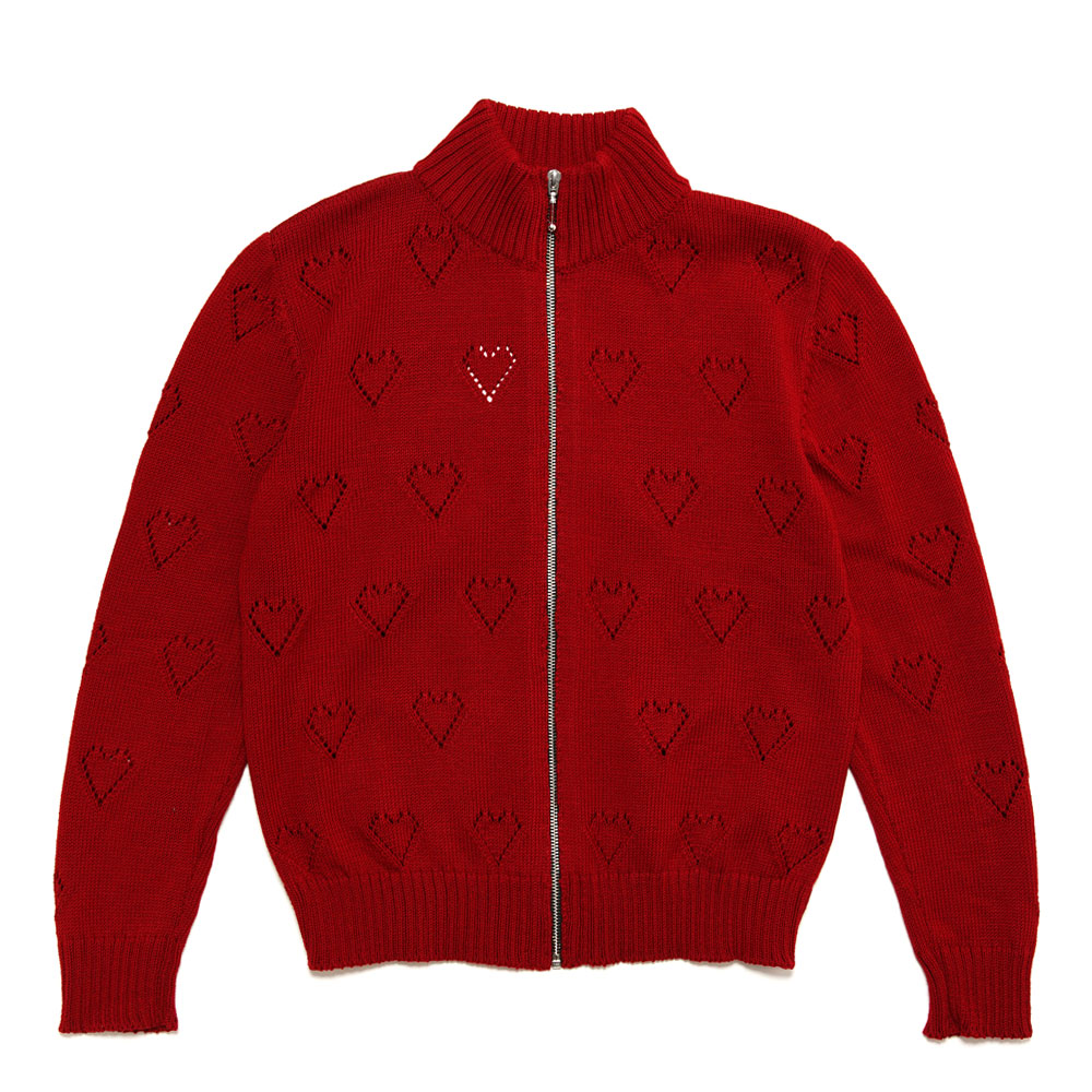 KNIT TRACK TOP RED HEARTS