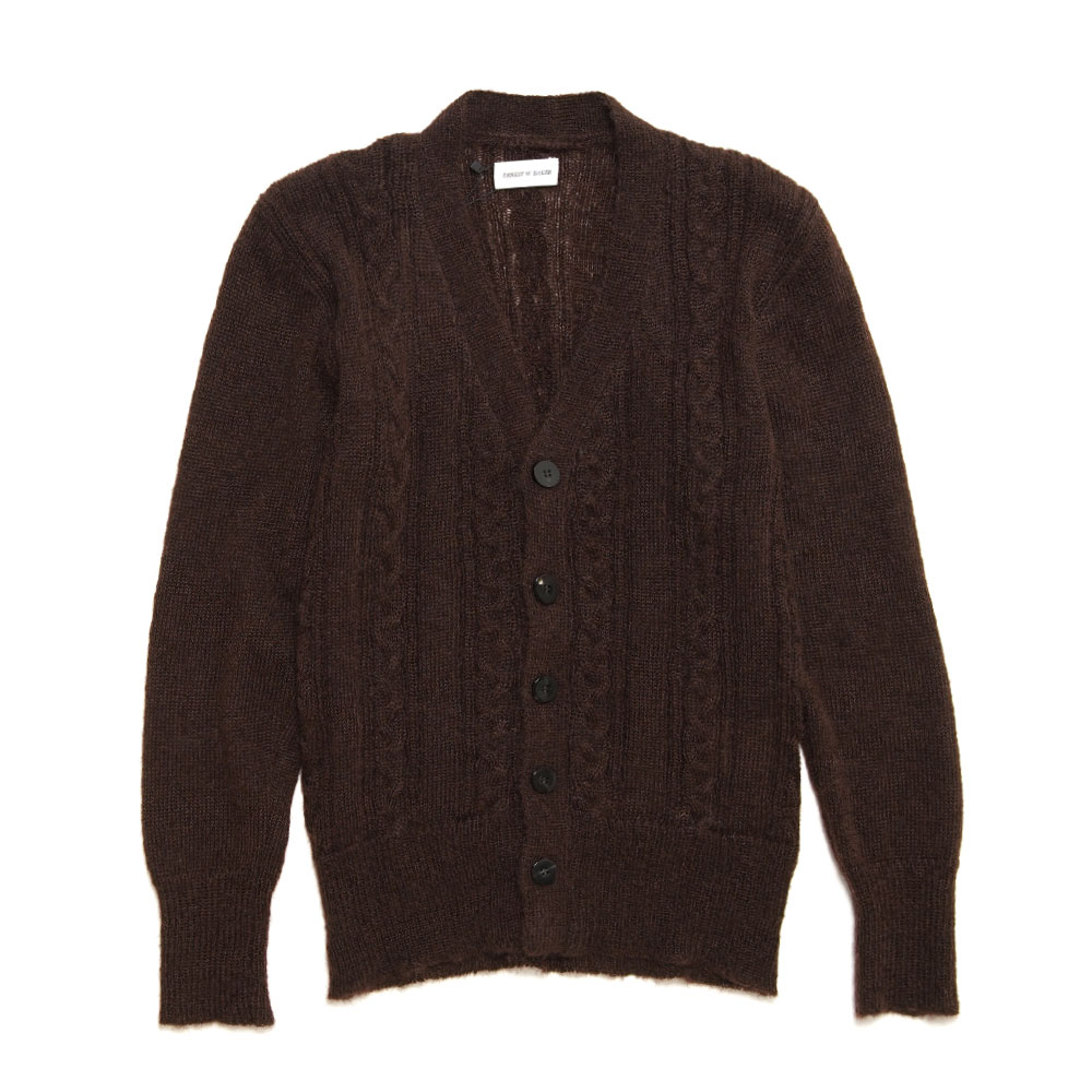 CABLE KNIT MOHAIRD CARDIGAN BROWN
