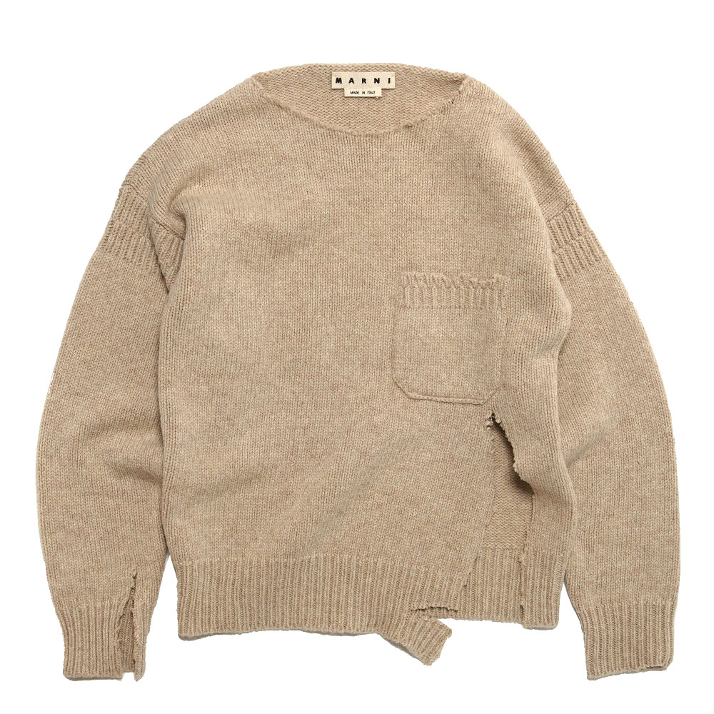 SHETLAND WOOL CREWNECK KNIT WITH UNSTICHED BORDERS BEIGE