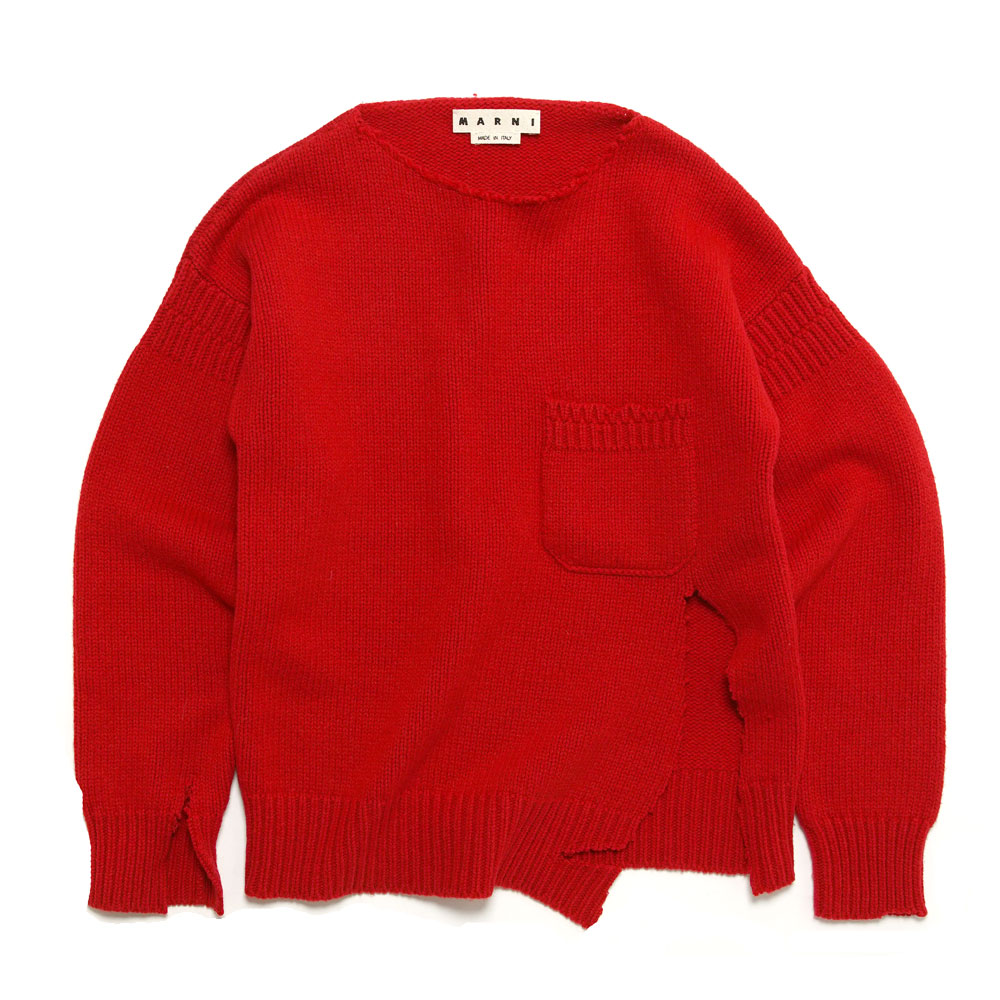 SHETLAND WOOL CREWNECK KNIT WITH UNSTICHED BORDERS RED