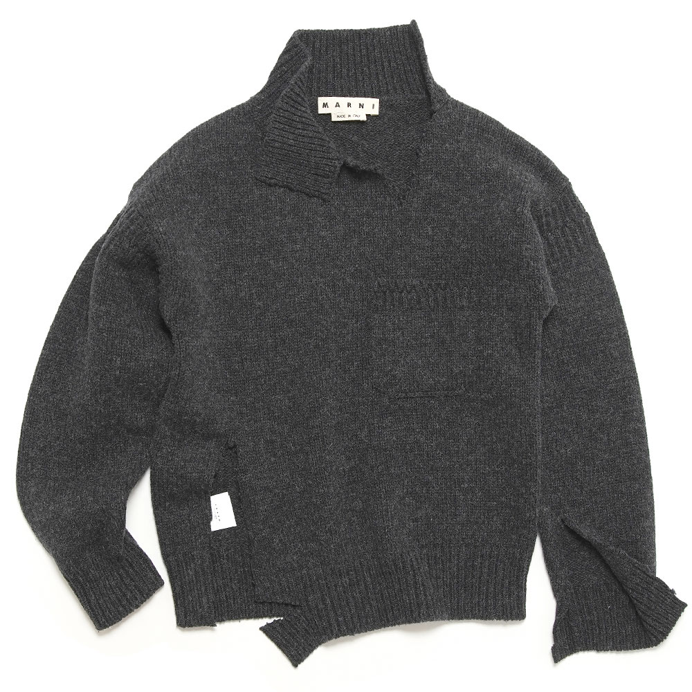 SHETLAND WOOL TURTLENECK KNIT WITH UNSTICHED BORDERS CHARCOAL GREY