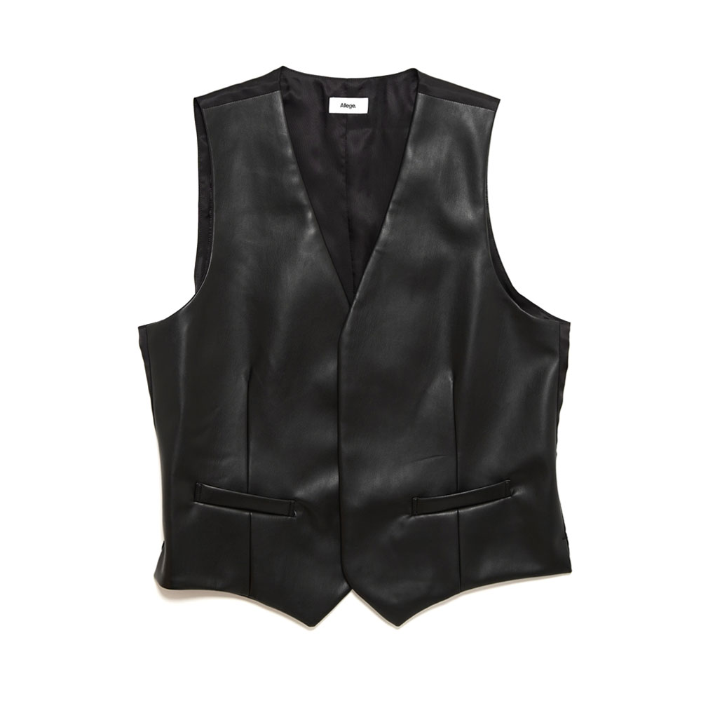 SYNTHETIC LEATHER GILET BLACK