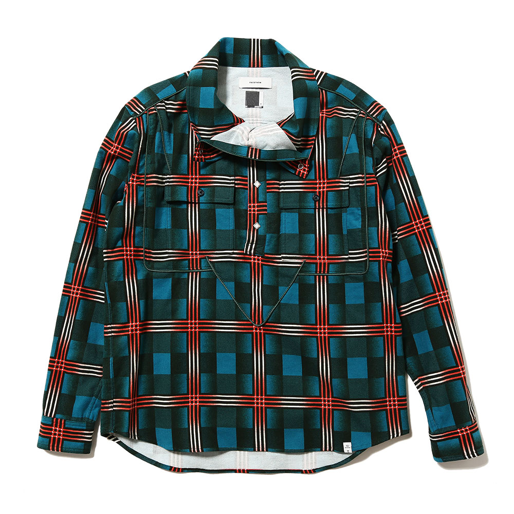 FLANNEL CHECK PULLOVER SHIRT GREEN