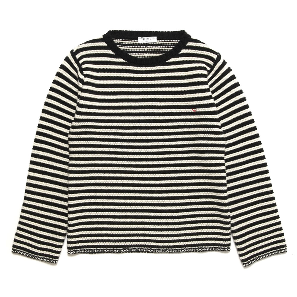 LINTZ HERITAGE KNIT CREWNECK STRIPES KNW17 NERO BIANCO