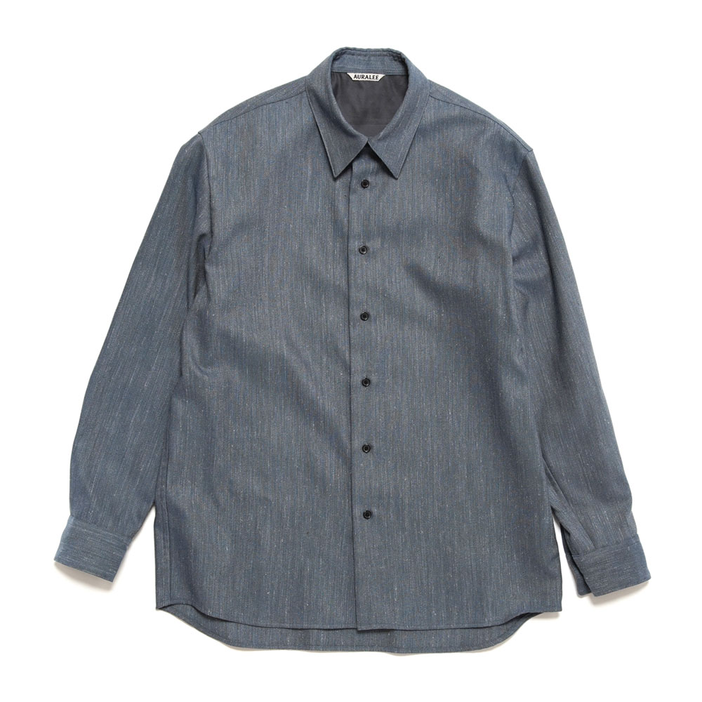 WOOL LINEN TWILL SHIRTS A20AS01WL TOP BLUE