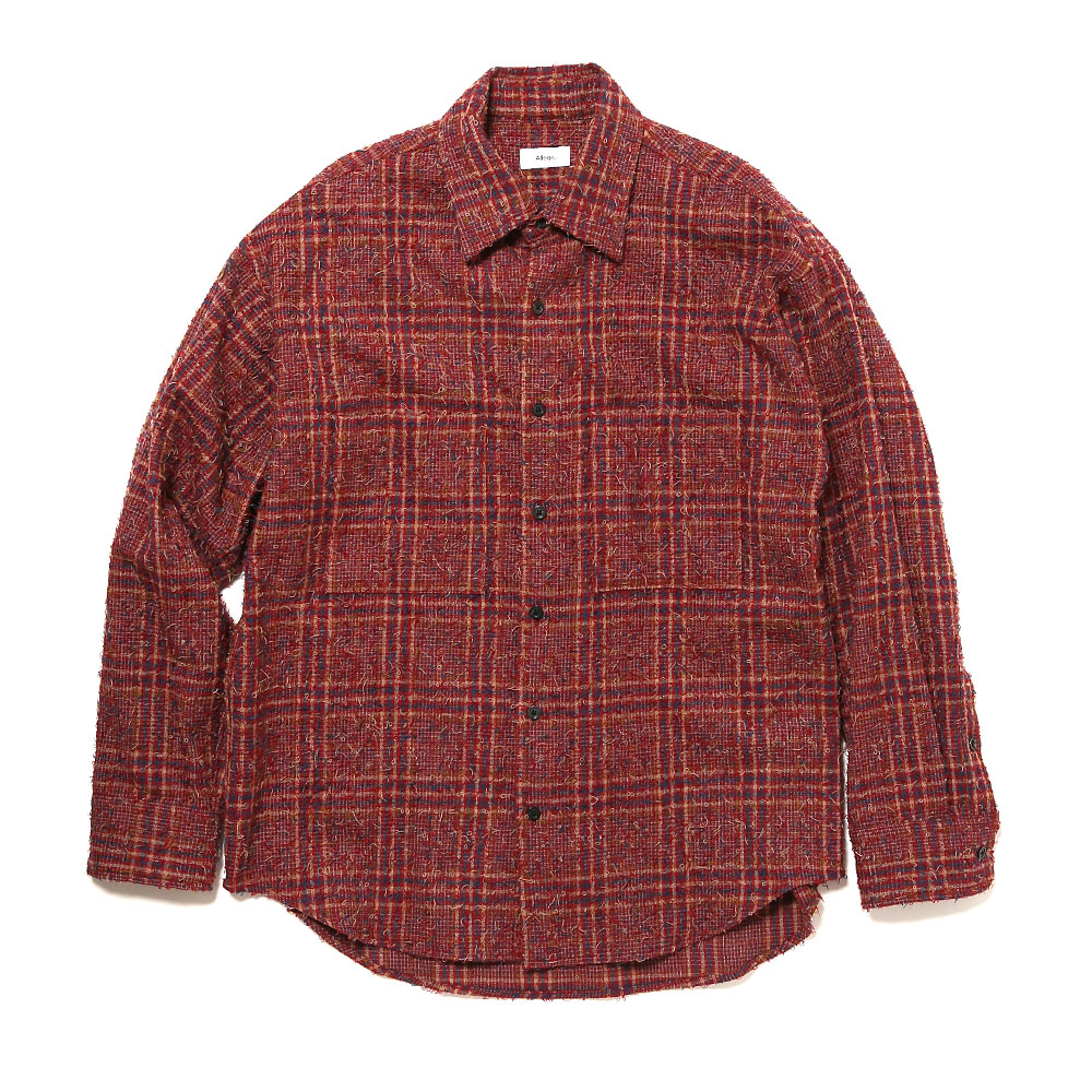 NEEDLE PUNCHED CHECK SHIRT RED