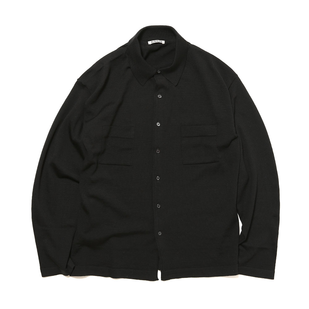 SUPER FINE WOOL KNIT SHIRTS BLACK