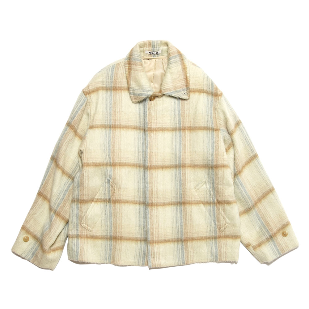 SURI ALPACA SHAGGY CHECK BLOUSON YELLOW CHECK