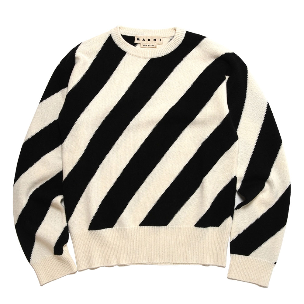 BIAS STRIPE CREW NECK KNIT OFFWHITE/BLACK