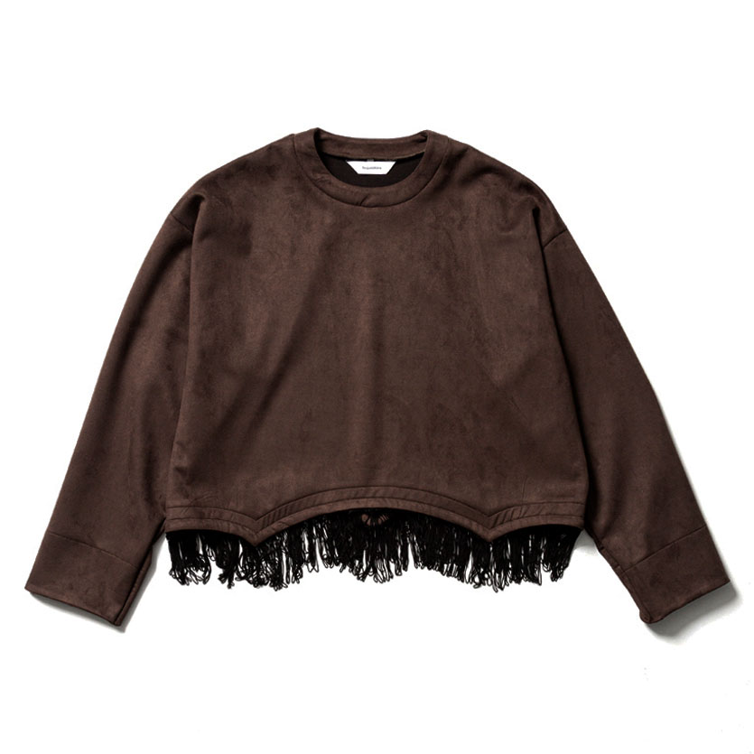 FRINGE FAKE SUEDE SMOCK BROWN