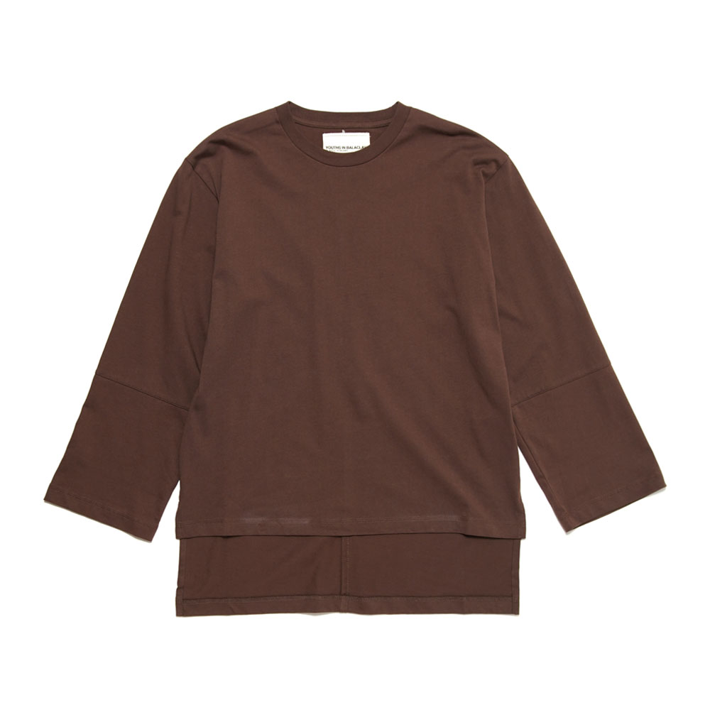 FRONT CUT L/S TEE BROWN