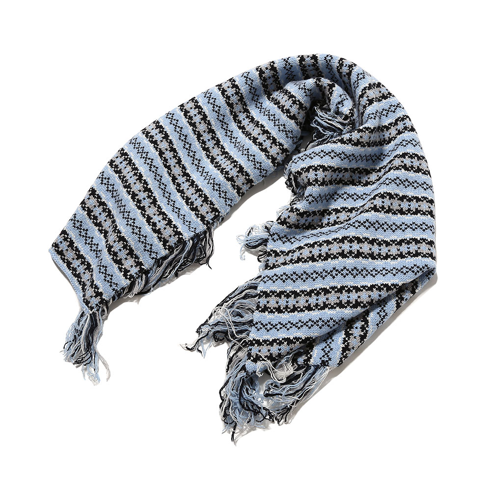 LAMBSWOOL FRINGED FAIRLISE SCARF SKY BLUE/GREY/OFF