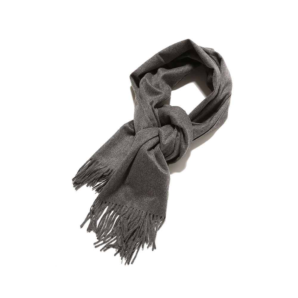 CASHMERE WIDE STOLE TOP GRAY