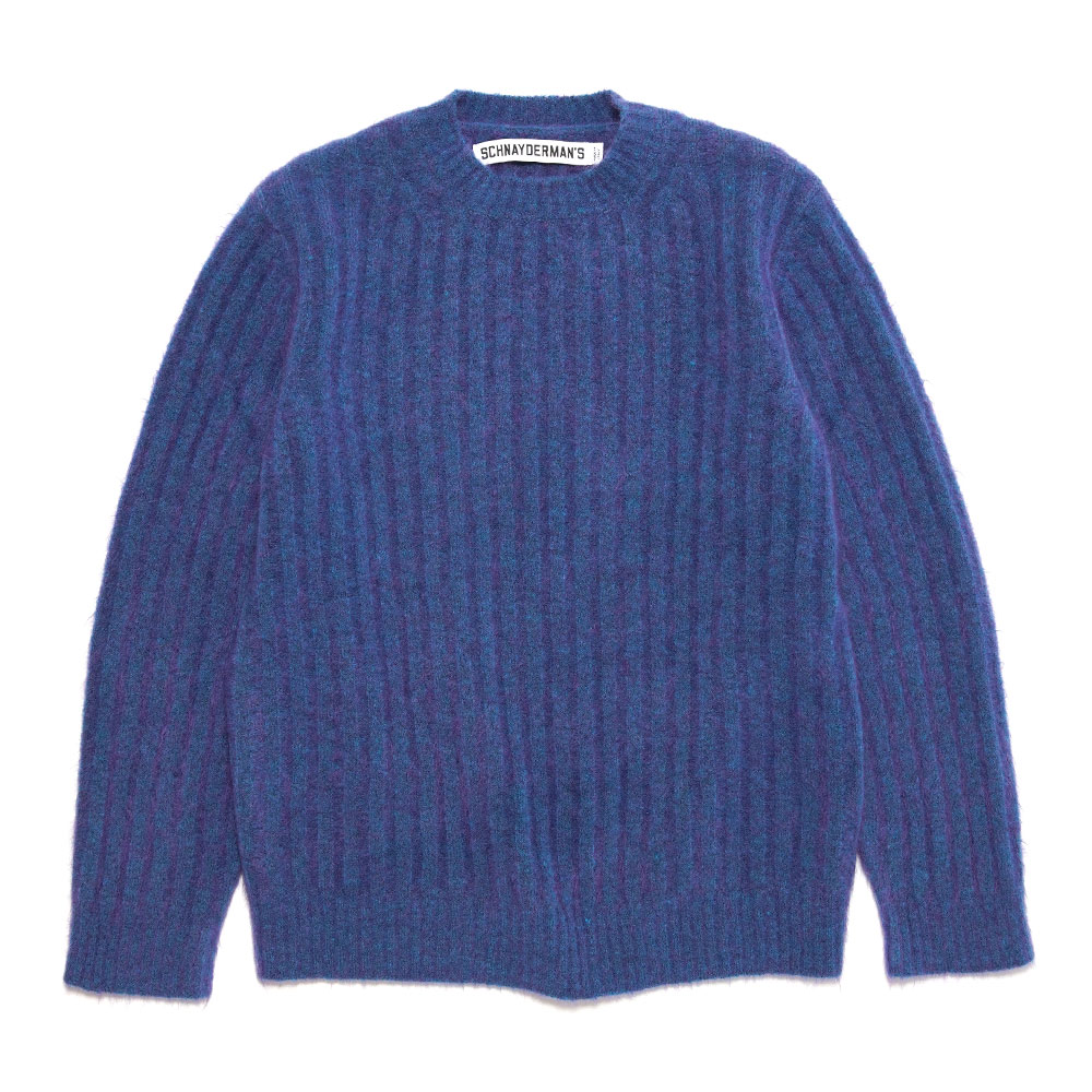 CREWNECK SEAMLESS RIB MOHAIR ELECTRIC BLUE