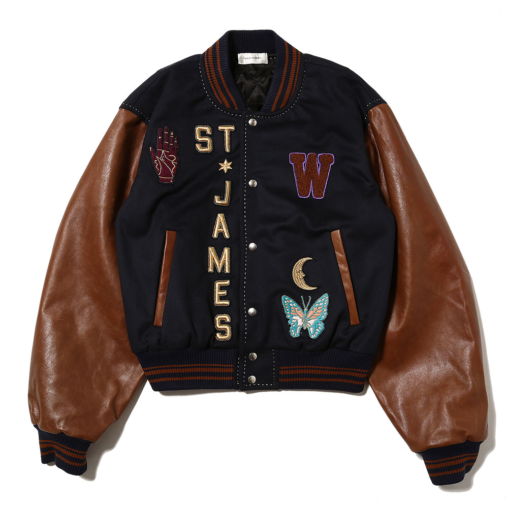 PATCHED VARSITY JACKET NAVY/BROWN
