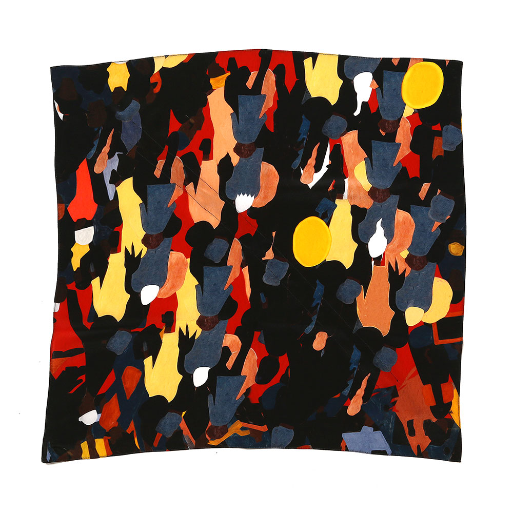 DRAWSTRING SCARF MULTICOLOUR CROWD PRINT