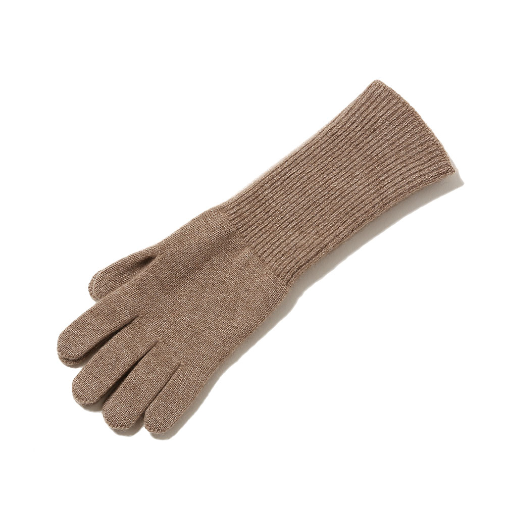 BABY CASHMERE KNIT LONG GLOVES NATURAL BROWN