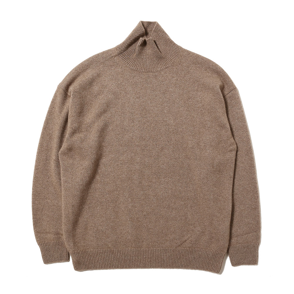 BABY CASHMERE KNIT TURTLE NECK P/O NATURAL BROWN