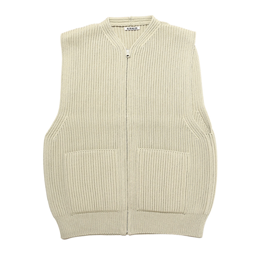 SUPER FINE WOOL RIB KNIT ZIP VEST PALE GREEN