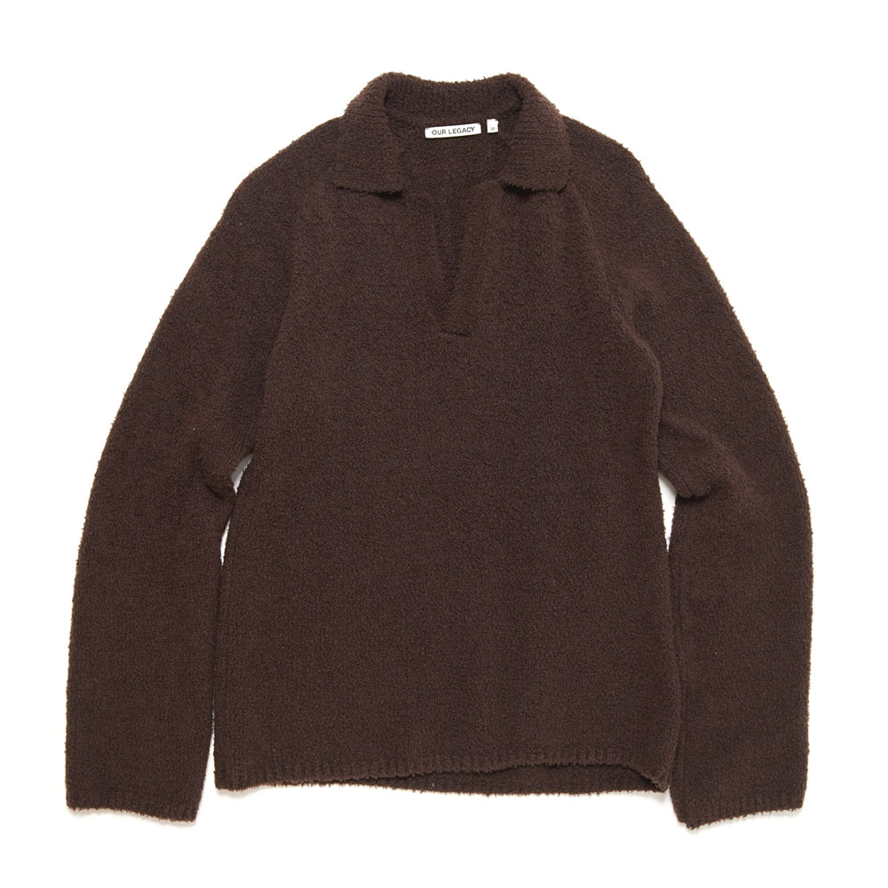 KNITTED POLO LONGSLEEVE TEDDY BROWN MERINO