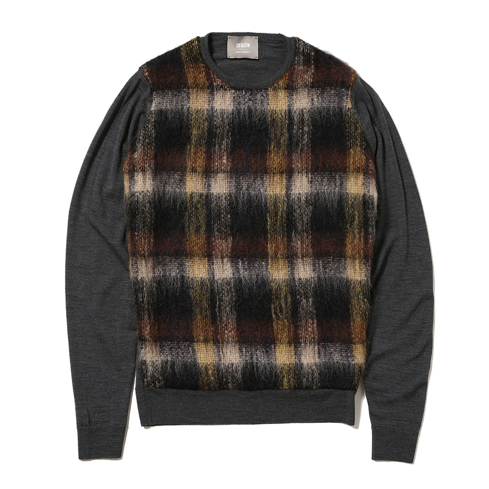 MERINO WOOL AND MOHAIR CHECK PANNELD CREWNECK