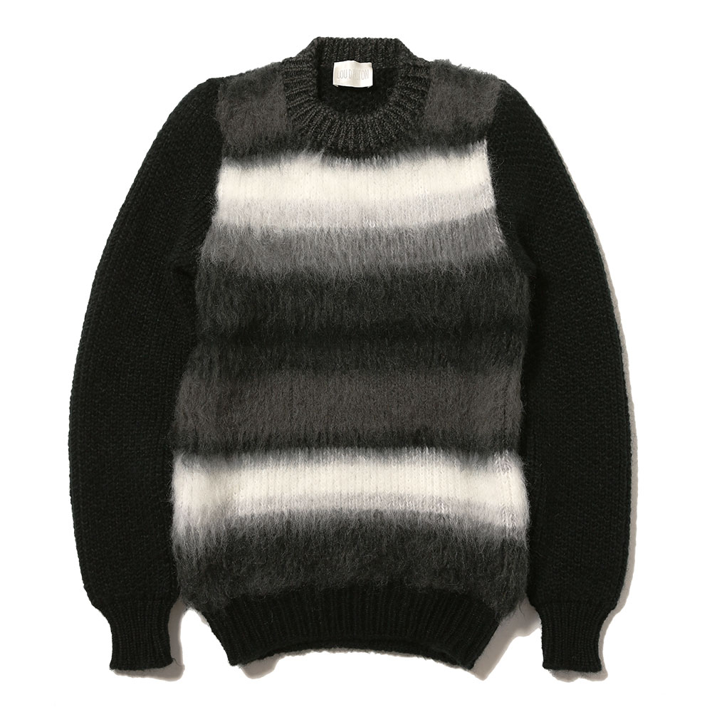CHUNKY RIB BRUSHED WOOL MOHAIR CREWNECK SWEATER