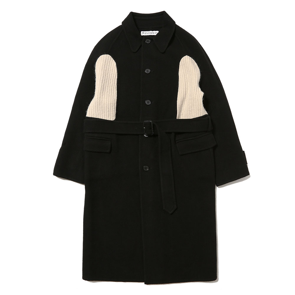 KNIT INSERT BELTED COAT