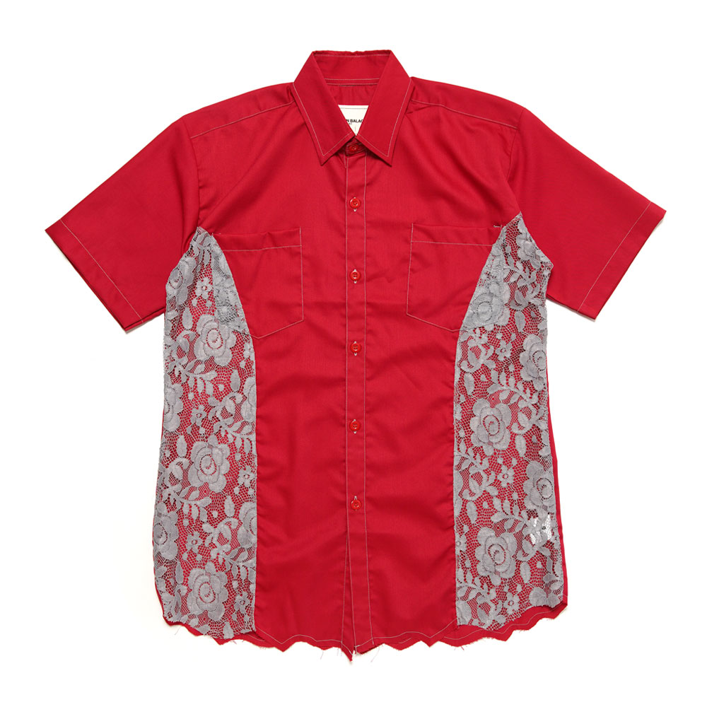 SEE THROUGH SHORT SLEEVE FORMAL SHIRT RED
