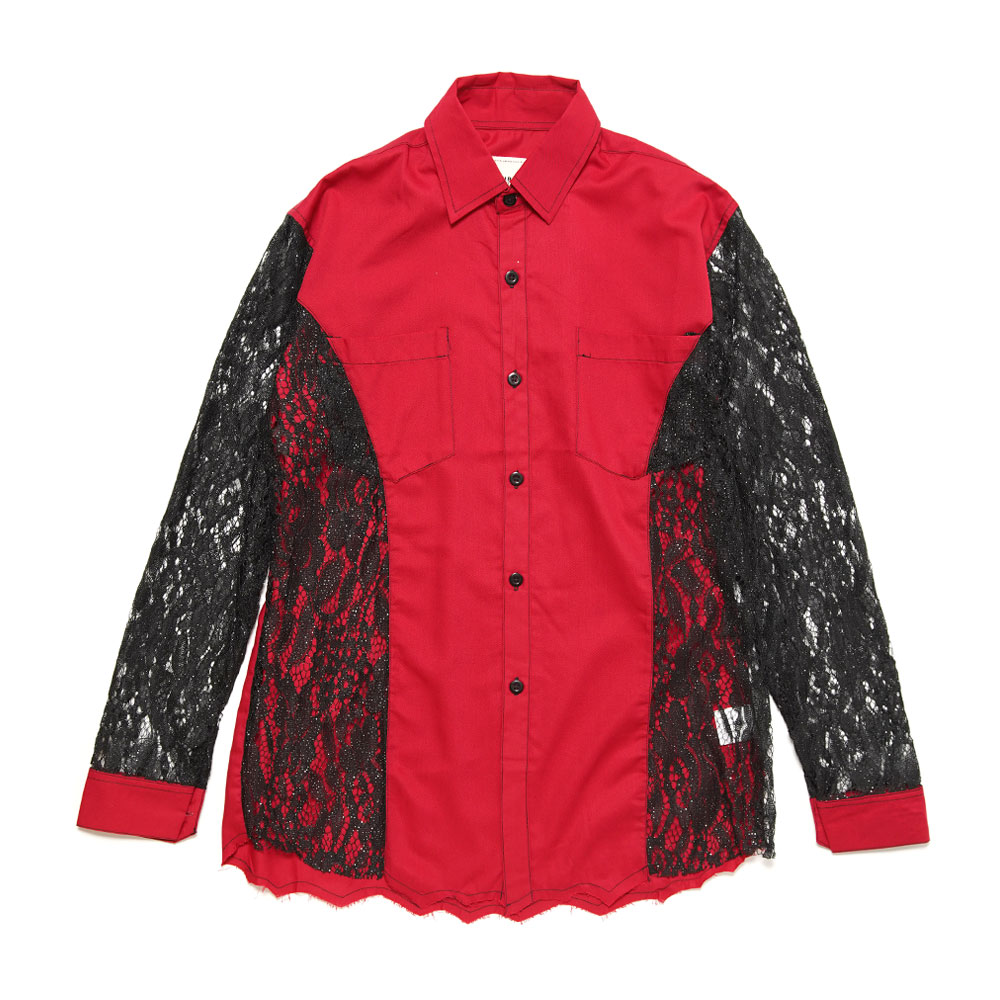 SEE THROUGH LONG SLEEVE FORMAL SHIRT RED