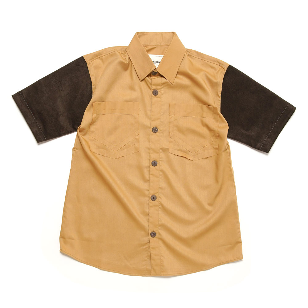 PLASTIC SURGERY PATCHED S/S SHIRT BROWN