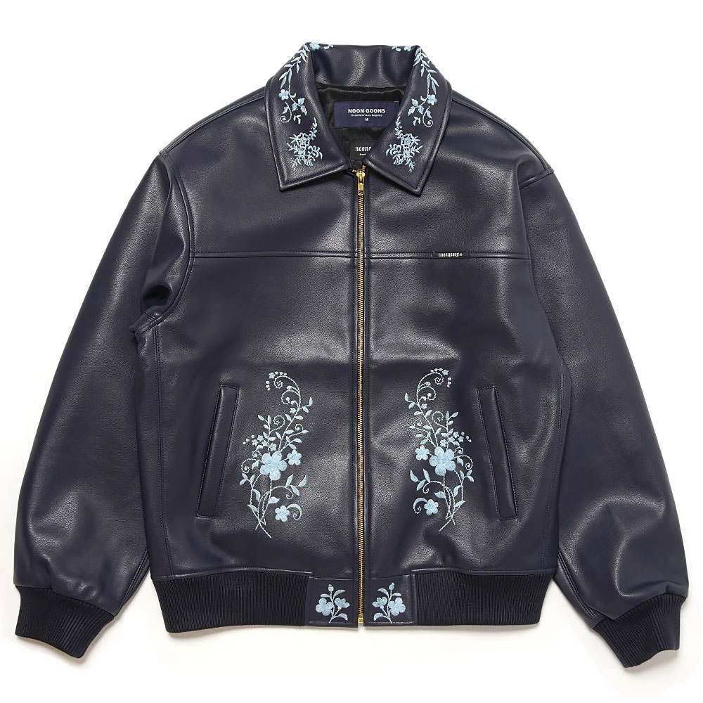 FLORAL EMBROIDERY JACKET NAVY