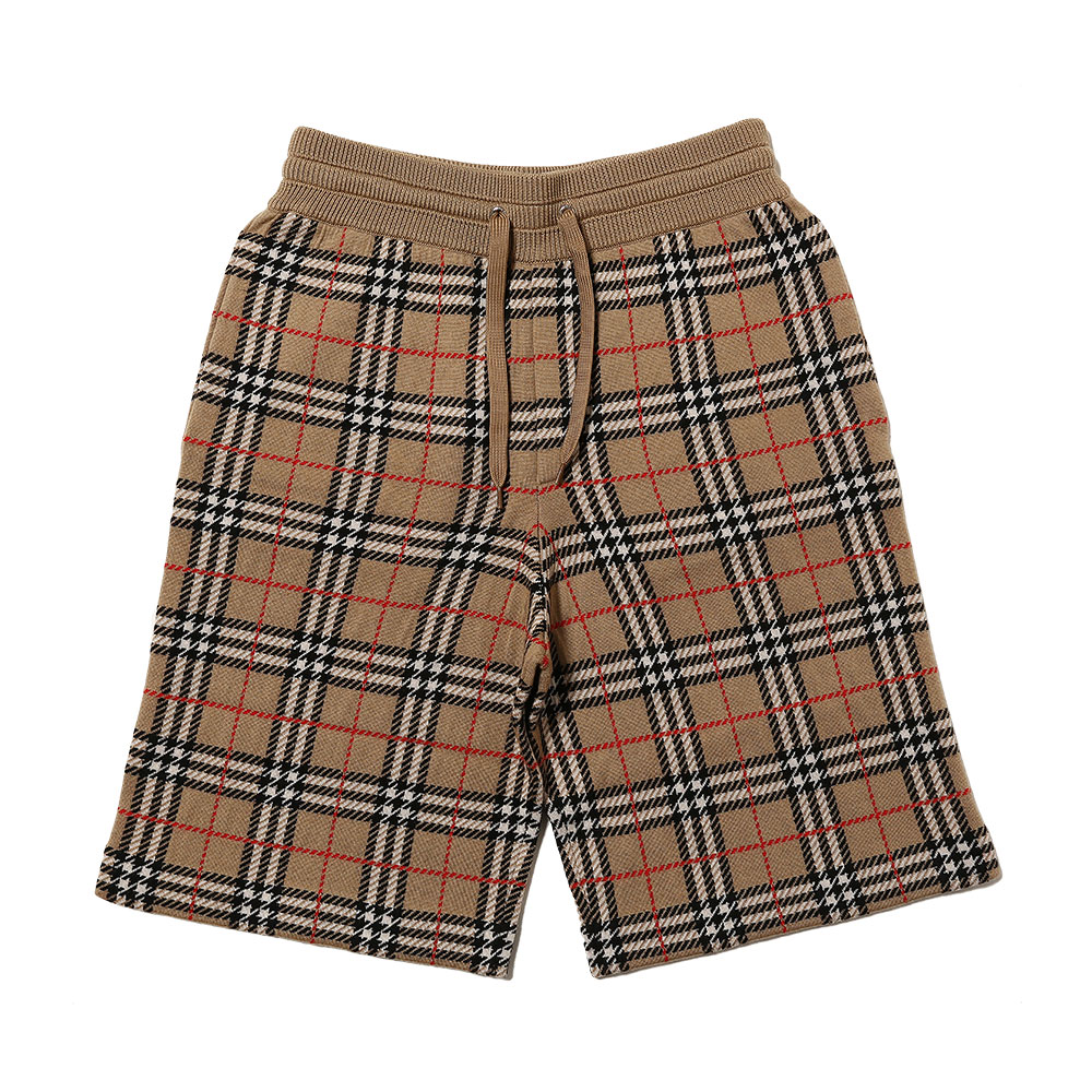 CHECK MERINO WOOL JACQUARD SHORTS ARCHIVE BEIGE