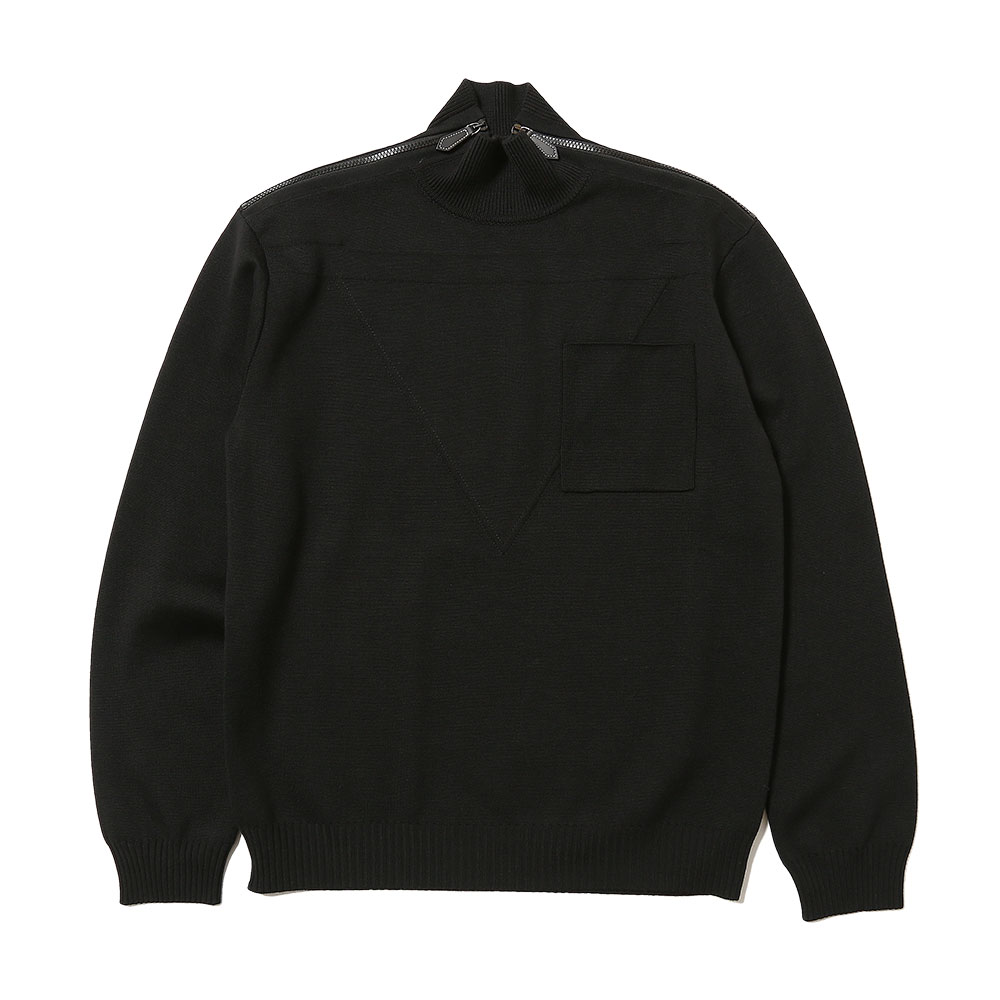 ZIP DETAIL WOOL TURTLENECK SWEATER