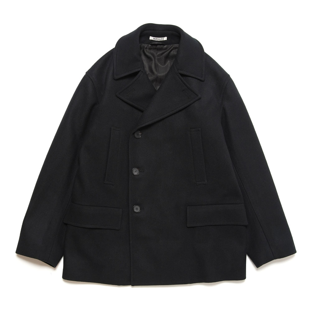 SUPER FINE MELTON HALF COAT BLACK