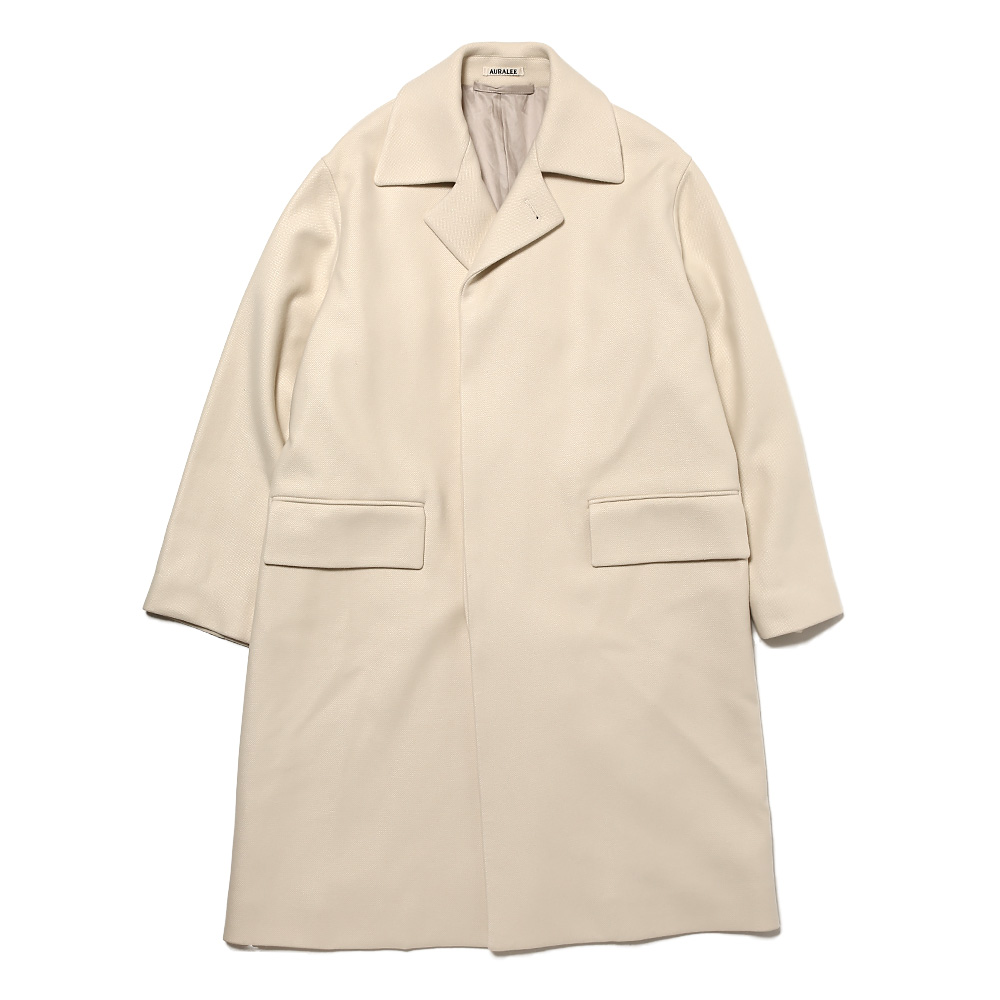 WOOL SILK MELTON SOUTIEN COLLAR COAT WHITE