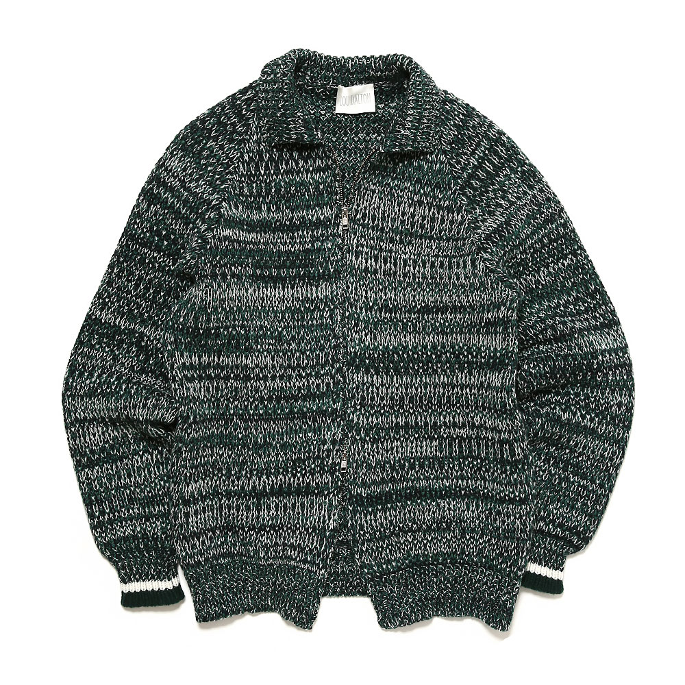 LAMBSWOOL MELANGE ZIP THROUGH KNITTED CARDIGAN GRE
