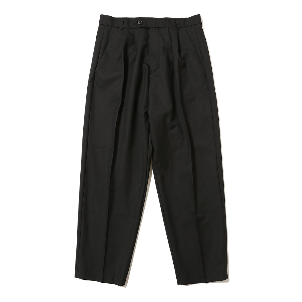 ORO DOUBLE PLEATED WIDE TROUSERS BLACK