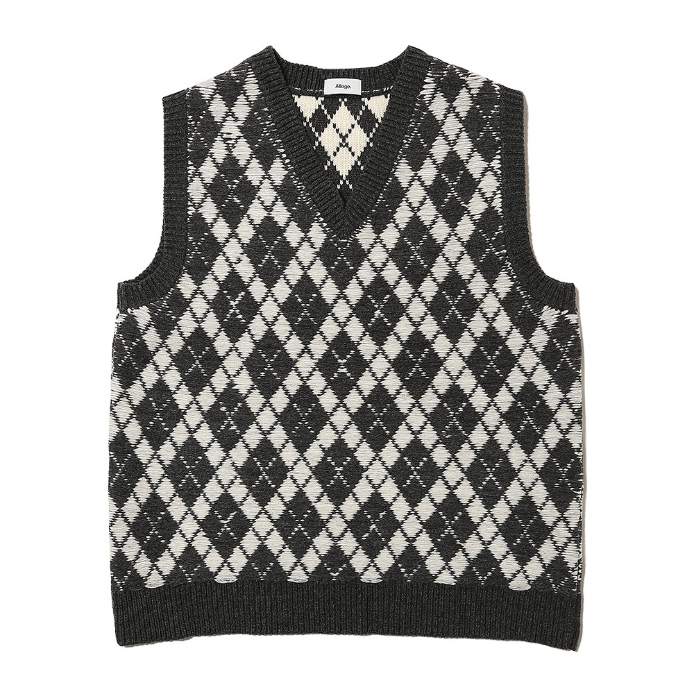 ARGYLE KNIT VEST GRAY