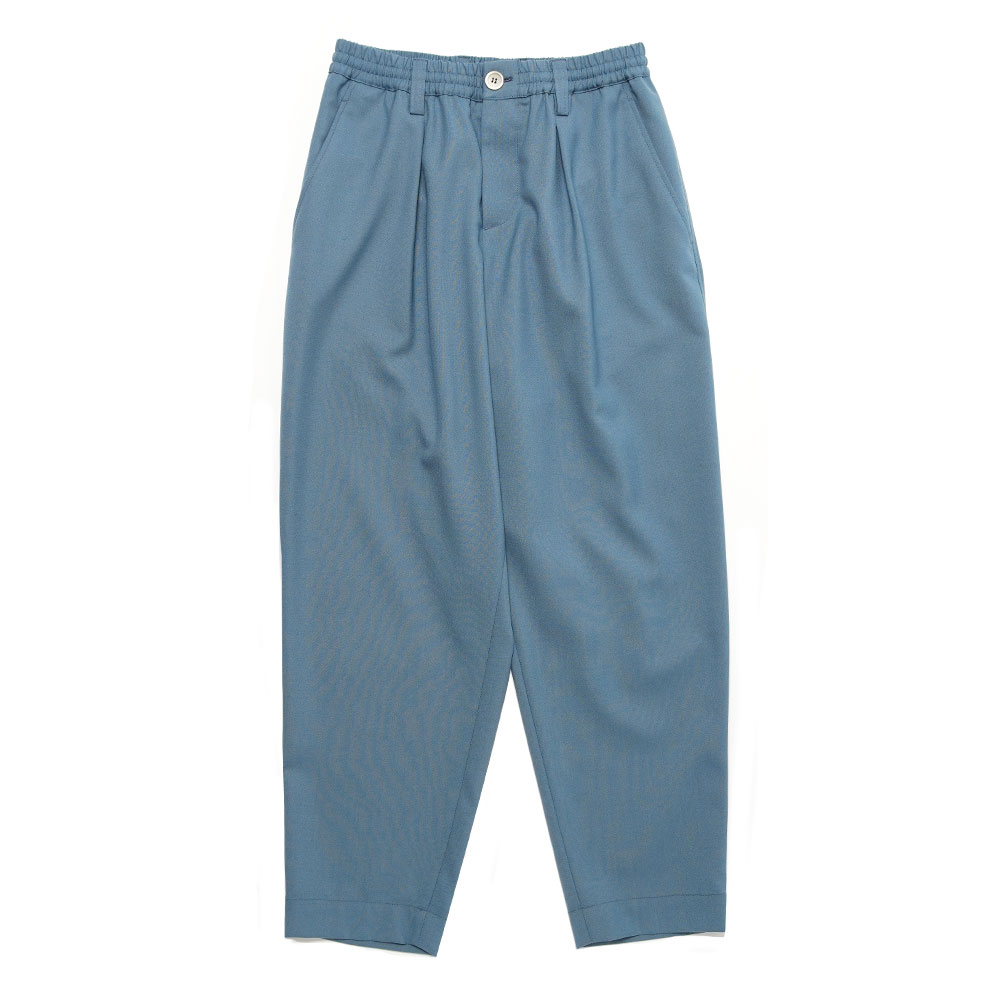 TROPICAL WOOL TAPERED SLACKS ASH BLUE